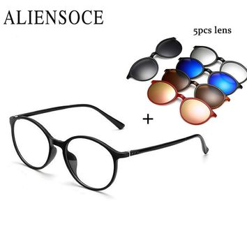 5 Lens Magnet Sunglasses Clip Mirrored Clip on Magnetic Sunglasses Clip on Glasses Men Polarized Clip Custom Prescription Myopia