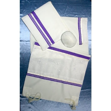 Purple & Silver Tallit Prayer Shawl