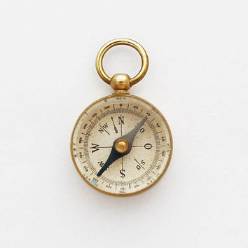 Brass Compass Pendant / Vintage German Pocket Compass