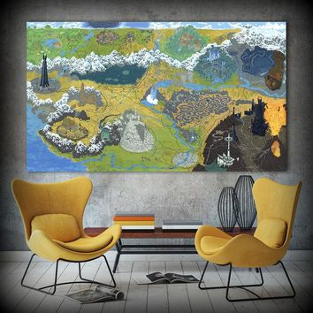 HDARTISAN Game Poster Canvas Art Oil Painting Map Of the Lord Of the Ring Wall Pictures For Living Room Home Decor No Frame