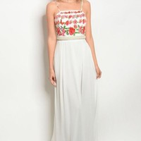WHITE WITH FLOWER PRINT DRESS