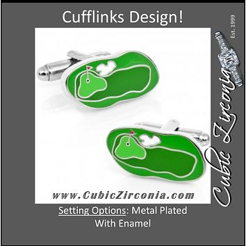 Men's Cufflinks- Green Golf Course Design