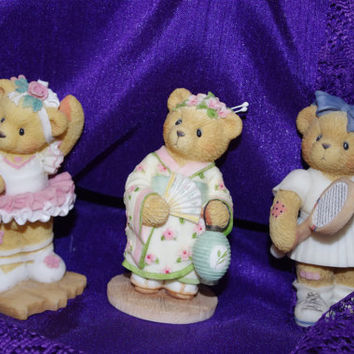 Three Adorable Vintage Cherished Teddies Figurines