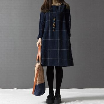 2017 Spring New Plus Size Women Loose Clothing Arts Style Casual Dresses Korean Long-sleeved Plaid Cotton Linen Dress Vestidos