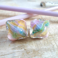 Lampwork Beads, Pair of Handmade Glass Beads, Jewelry Supplies for Unique Artisan Lampwork Jewelry, Chrystal Bead