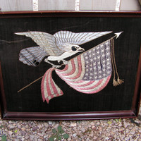 Silk Embroidered Panel United States Eagle American Flag Chinese Export Needlework Wall Art Hanging Americana Textile Patriotic Embroidery