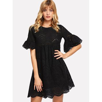 Laddering Lace Insert Eyelet Embroidered Dress Black