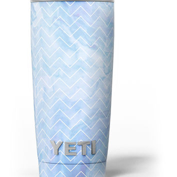 Blue Watercolor Chevron Yeti Rambler Skin Kit