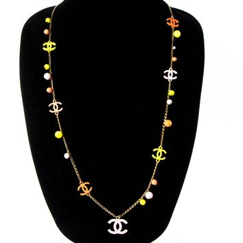 Chanel Pearl Necklace - CC Charm Pink Yellow Logo Chain Pendant Bead Gold 03S