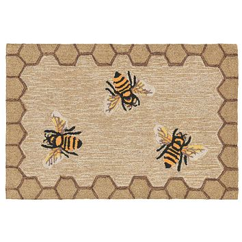 Trans Ocean Frontporch Honeycomb Bee Area Rug
