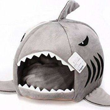 Grey Shark Bed for Small Dogs or Cats