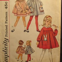 SALE Uncut 1960's Simplicity Sewing Pattern, 4152! Size 1 Infants/Toddlers/Girls Dresses/Smock Dress/Drawstring/Long Sleeves/Summer/Spring