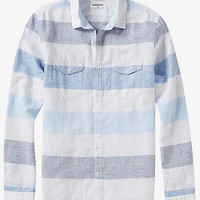 Linen-cotton Horizontal Stripe Two Pocket Shirt from EXPRESS