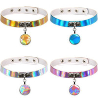 Opshineqo 2017 Fashion Rainbow Holographic Choker Necklace Jewelry Necklace Gothic Femme PU Leather Choker Necklaces for Women
