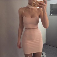Spaghetti Straps Crop Top with Short Skirt Two Pieces Dress Set