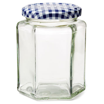 Blue Check Jars, 9.5 Oz, Set of 6, Kitchen Canisters, Canning & Spice Jars