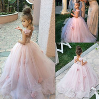 New Arrival Vestido daminha 2016 Custom Ball Gown Flower Girl Dresses Princess Straight Necklike FlowersPageant Gowns Girls