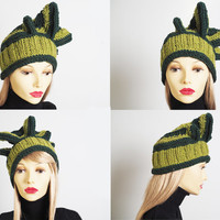 St patricks day, Hunter green and olive green knit hat, Asymmetrical high fashion woman's hat, Tall woman's hat, Chic crocheted woman's hat