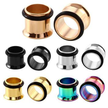 ac PEAPO2Q 2PCS Steel Single Flare Flesh Tunnel Ear Plugs Expander 1.6mm-25mm Ear Stretchers Earring Gauges Silver Gold Black Body Jewelry