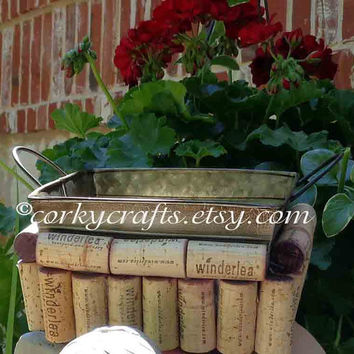 Wine cork metal basket, rustic wedding,  table decor ,  gift card holder, bar decor, garden planter