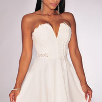 White Embroidered Strapless Cutout Detail Skater Dress