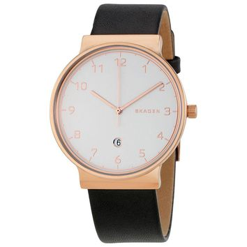 Skagen Ancher White Sandblasted Dial Mens Leather Watch SKW6322