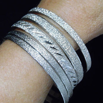 Monet 5 Bangle Bracelet Set, Silver Tone, Textured Surface, Signed, Classic Style, Layering Piece, Arm Party, Vintage Jewelry 1117