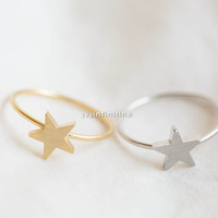 simple star ring,Jewelry,Ring,star ring,cute star,simple ring,stack ring ,girls ring,minimalist,unique ring,star jewelry,dainty ring