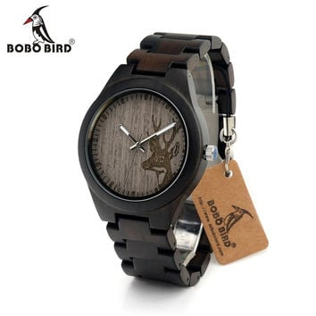 Mens Unique Ebony Wooden Watches Deer Head Dial Casual Quartz Wrist Watches With Wood Links In Gift Watch Box
