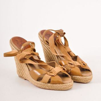 DCCK2 Brown Christian Louboutin Strappy Leather Ribbon Wedge Espadrille Sandals