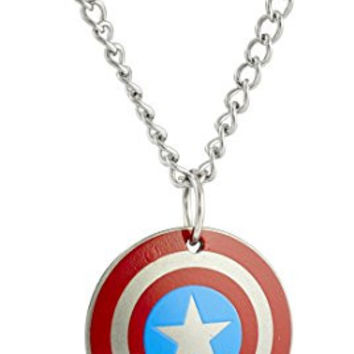 """Marvel Comics Boys' Stainless Steel Captain America Shield Chain Pendant Necklace, 16"""""""