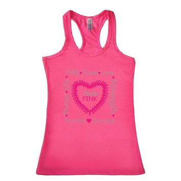 Women's THINK PINK Breast Cancer Awareness Racerback TANK TOP PINK