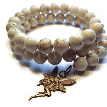 White Howlite Bracelet with Brass Fairy Charm