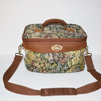 Vintage 80s Floral Print Bag Sasson Tapestry Bag Cosmetic Bag Carry On Train Case Camera Bag Toiletry Bag