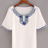 Flower Embroidered Short Sleeve Top