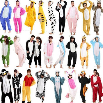 Hot Unisex Adult Flannel Pajamas Cosplay Cute Cartoon Animal Winter Onesuits Christmas Halloween Pajama Pyjama Sets Pikachu Panda