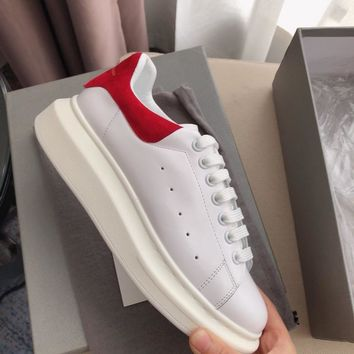 Alexander Mcqueen's world-class classic leather casual shoes watermelon red  scrub