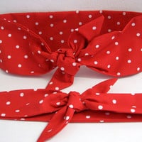 Fabric Hair Bandanas, Tie Up Headbands, Pin up Headband, RockaBilly HairBand, Red Polka Dots, Mother and Daughter, Boho Head Band