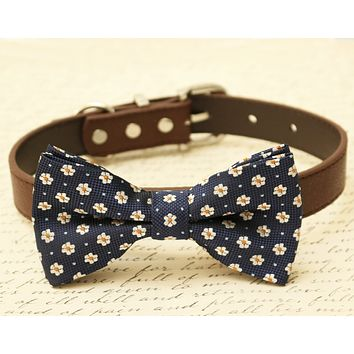 Navy dog bow tie collar- Pet Navy wedding, Floral bow tie