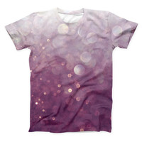 The Purple and White Unfocued Orbs of Light ink-Fuzed Unisex All Over Full-Printed Fitted Tee Shirt
