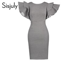 dress women cotton summer sexy short petal sleeve dress mid calf pin up dress ruffle slim pencil dress 2017 news