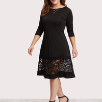 Plus Lace Panel Dress