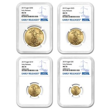 2019 4-Coin Gold American Eagle Set MS-70 NGC (Early Releases)