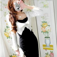 Long Sleeve Black White one-piece Bowtie Slim Dress Dresses Tops