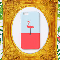iPhone 5 case, iPhone 5s case - A flamingo / pink on mint - iPhone 6 Plus case, iPhone 5s case, Good Luck Gold Sticker non-glossy C09