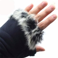 *Finger-less Faux Fur and Micro-suede Gloves