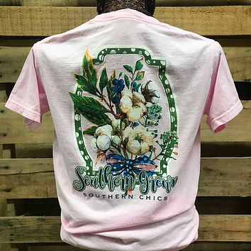 Southern Chics Apparel Southern Grown Cotton Bow Comfort Colors  Girlie Bright T Shirt