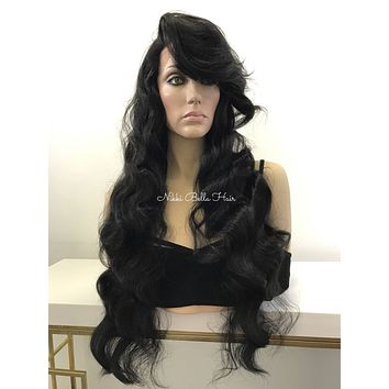 Long Black Curl Human Hair Blend Multi Parting Lace Front Wig -  Staci
