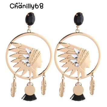 Chanilly68 2018 Drop Big Earrings Indian head Earring Tassel earrings Crystal Large Long Brinco Ear Oorbellen Christmas Gift