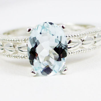 Aquamarine Oval Engraved Ring, 925 Sterling Silver, March Birthstone Ring, Engraved Sterling Silver Band, Aquamarine Filigree Ring
